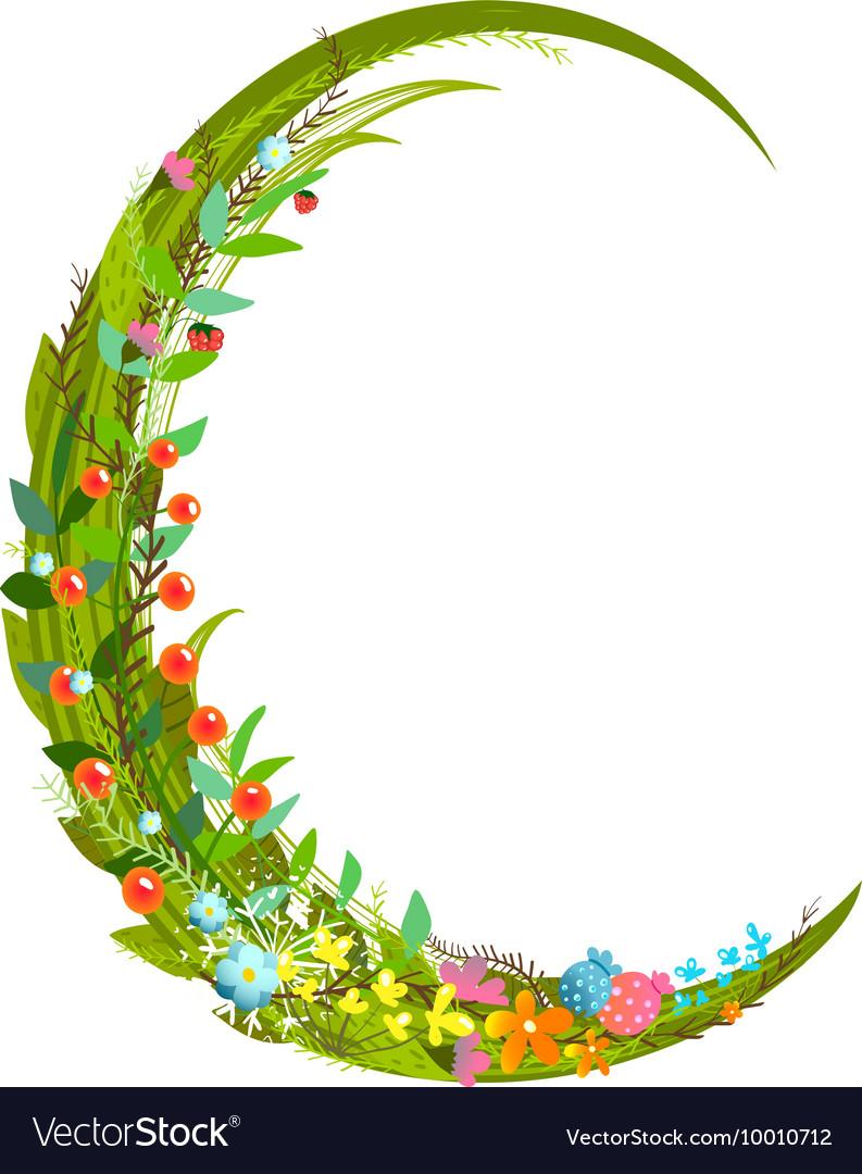 Decorative Letter C Letter C Floral Latin Decorative Character Vector Image