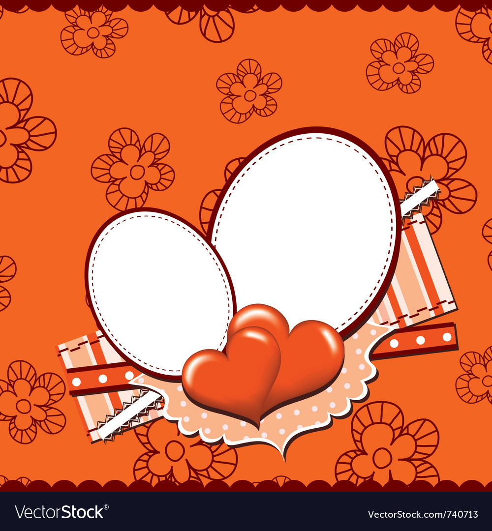 Template heart greeting card vector image
