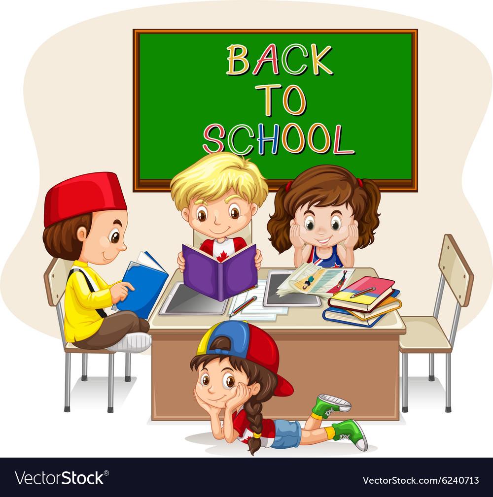 Children doing school work in classroom vector image