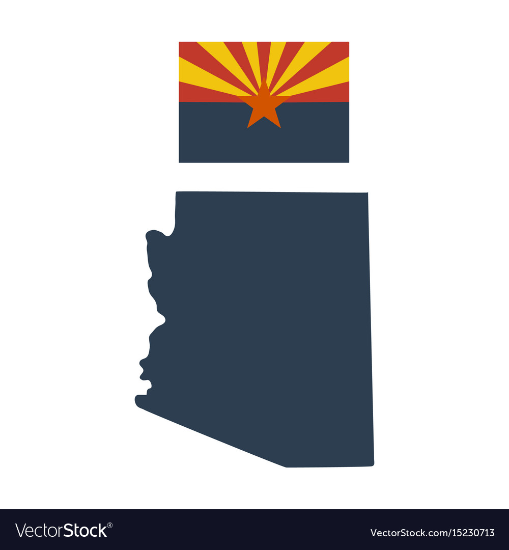 Flag of the us state of arizona and map vector image