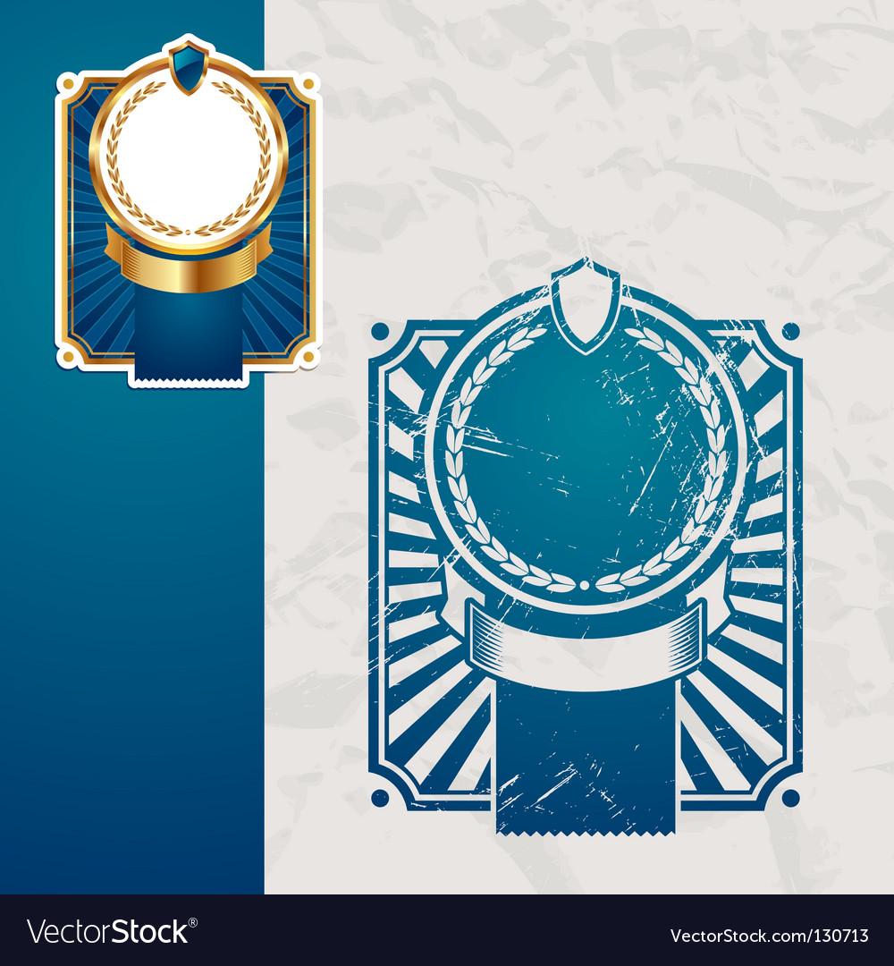 Golden vintage blue frames vector image
