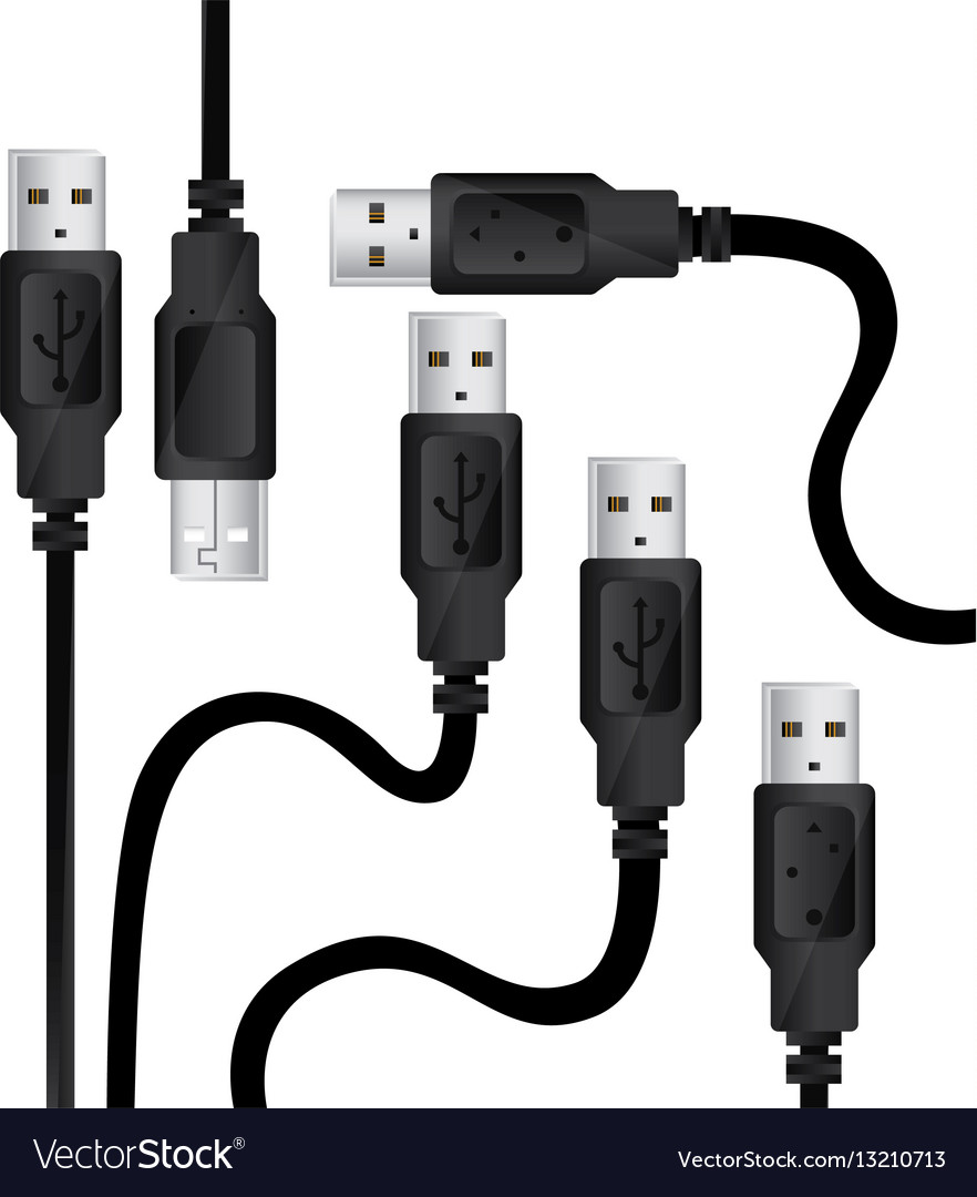 Monochrome background with usb cables vector image
