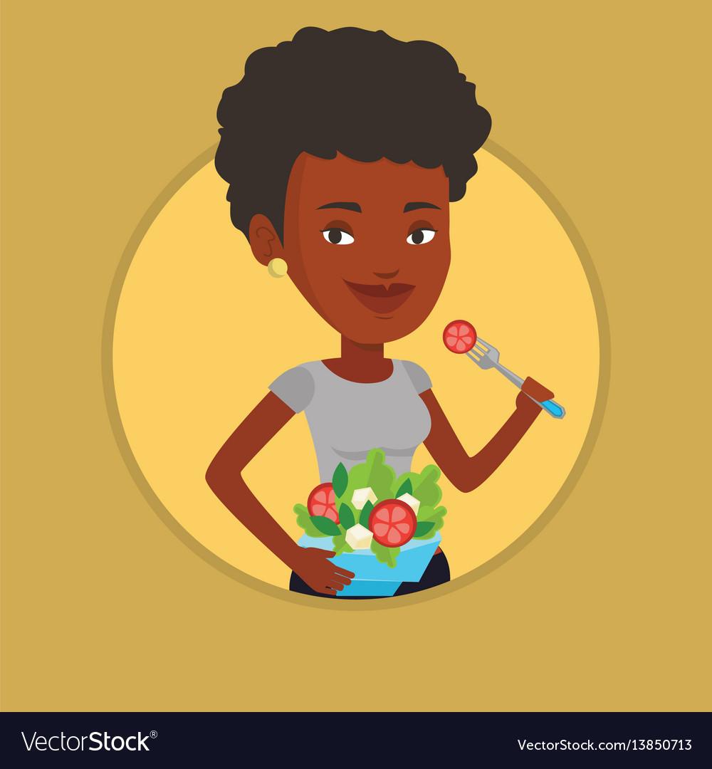 Woman eating healthy vegetable salad vector image