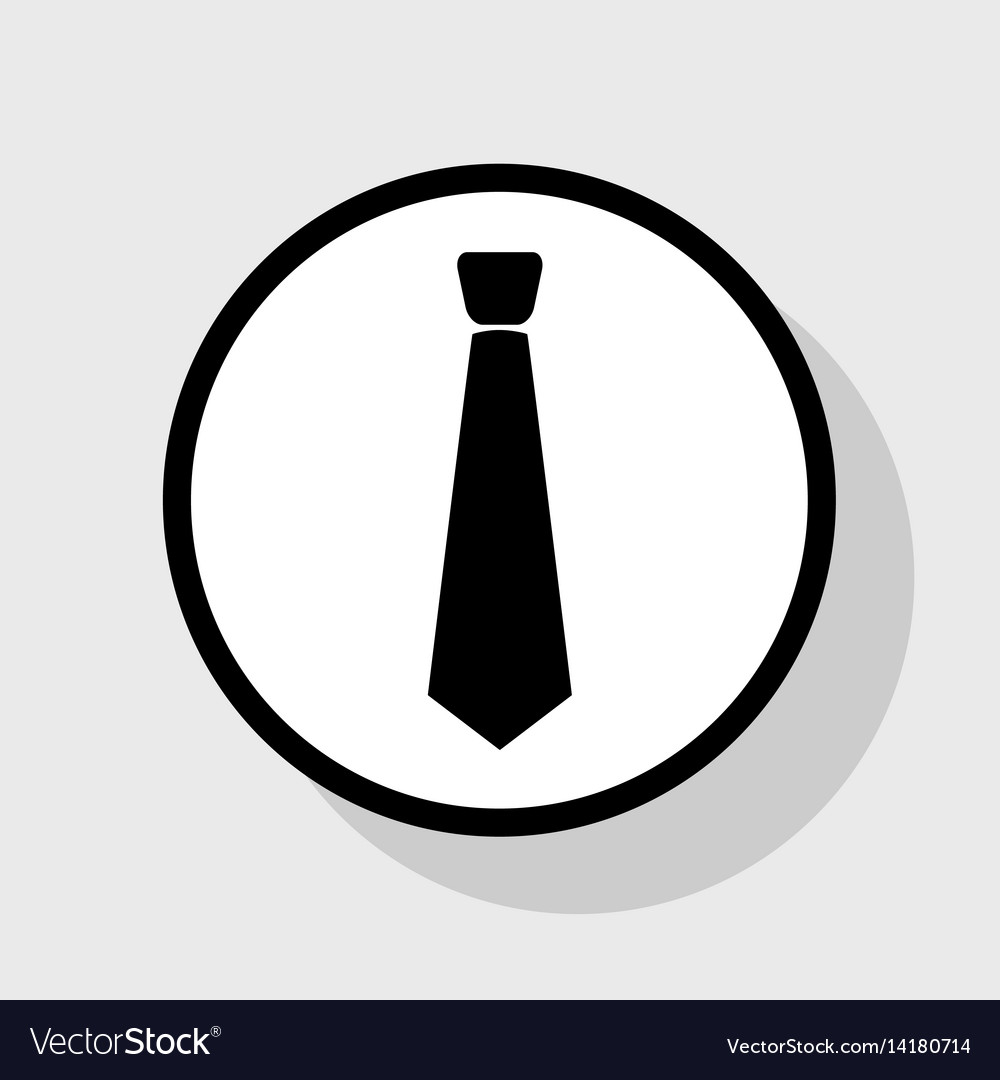 Tie sign flat black icon in vector image