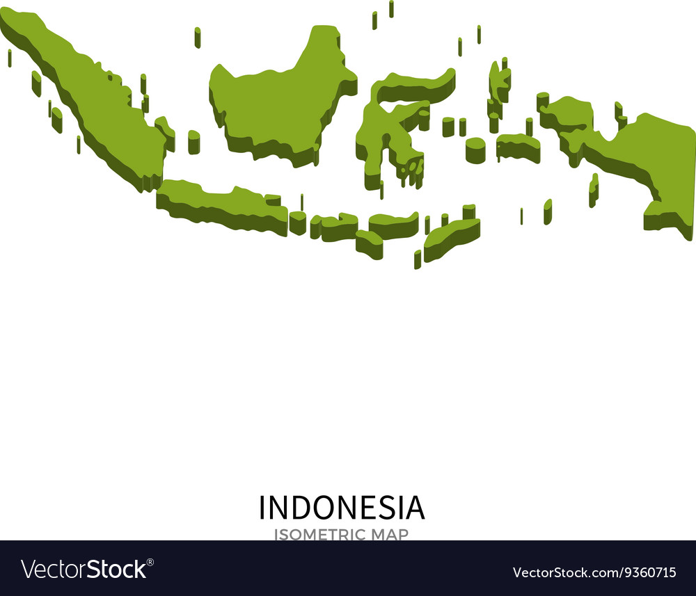 Isometric map of Indonesia detailed vector image