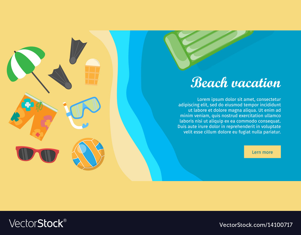 Beach vacation banner things necessary for rest vector image