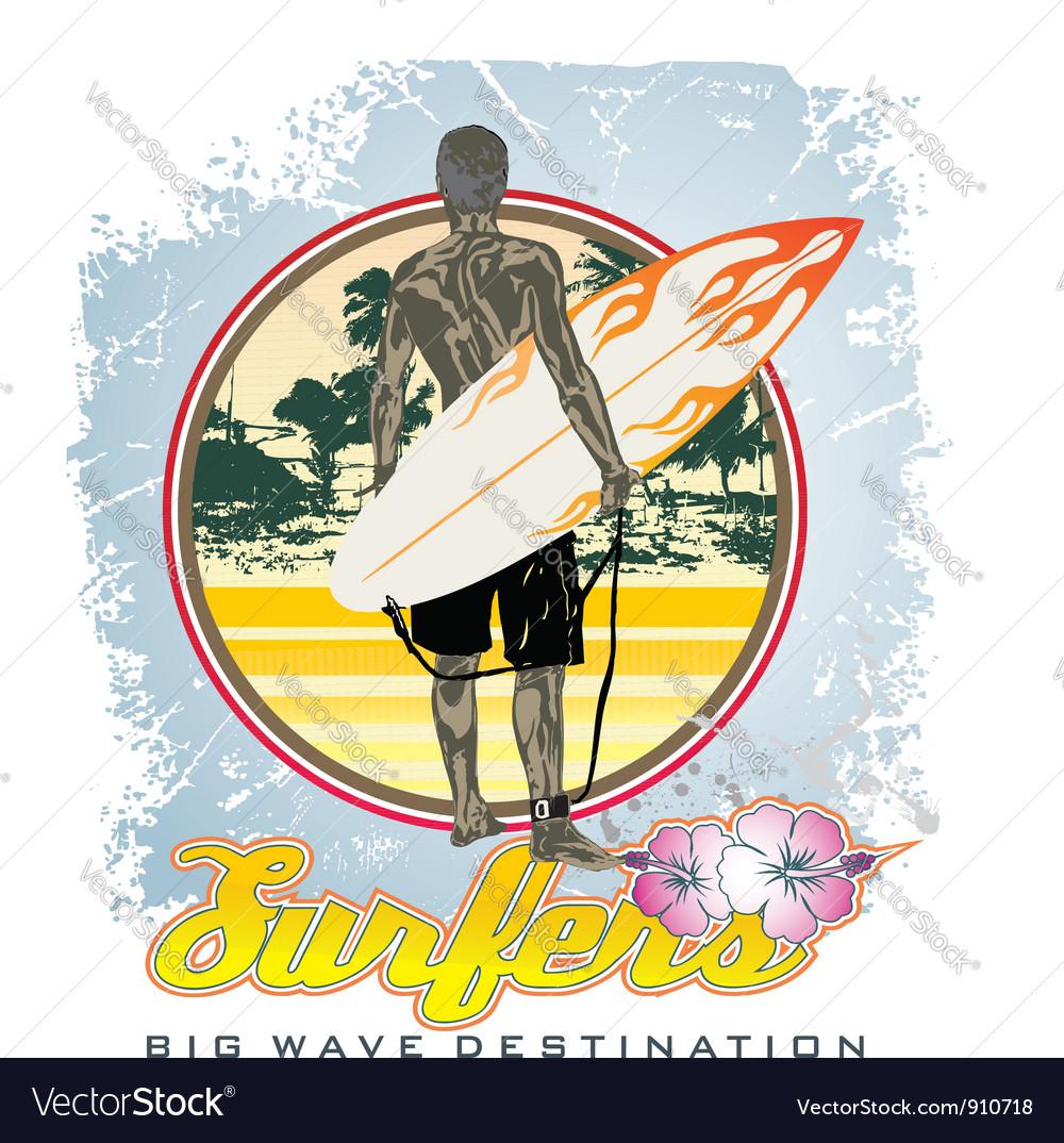 Big wave destination vector image