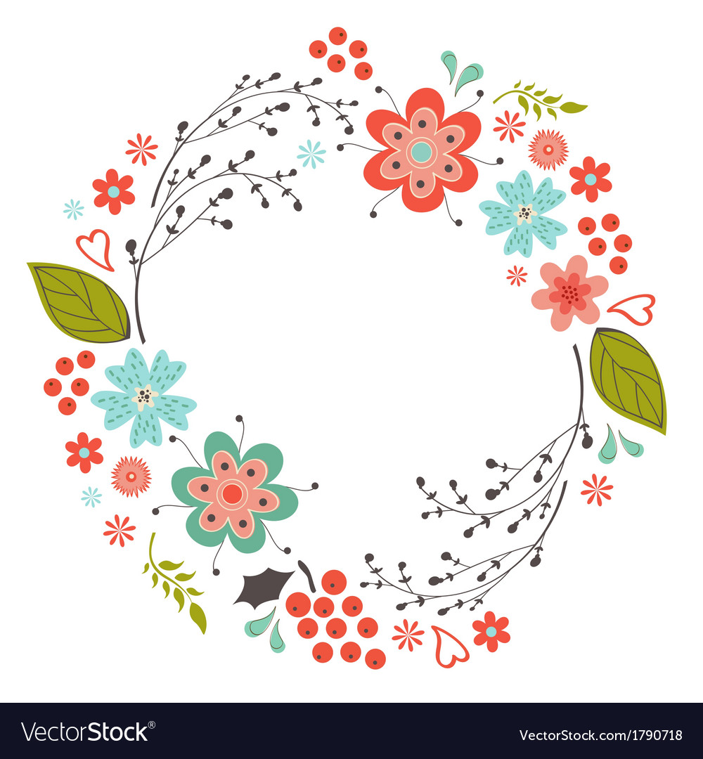 floral round composition royalty free vector image
