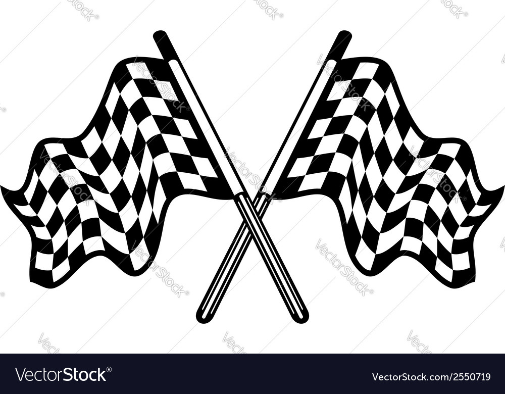 Crossed pair of waving checkered flags vector image