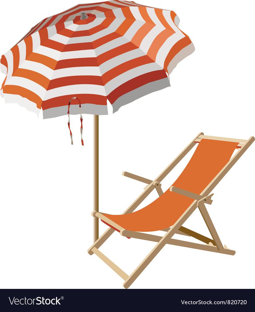 Beach chair and umbrella sketch - Chair And Beach Umbrella Vector Image