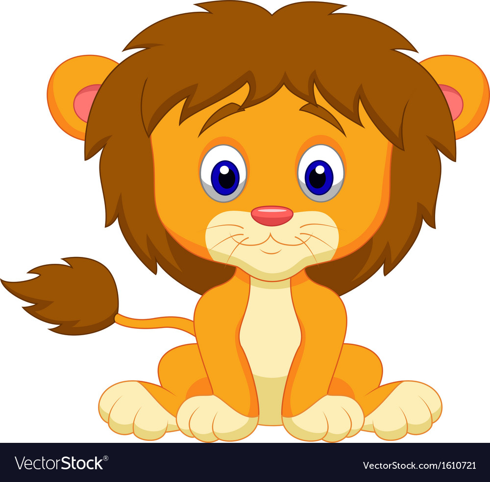 Baby lion cartoon sitting vector image