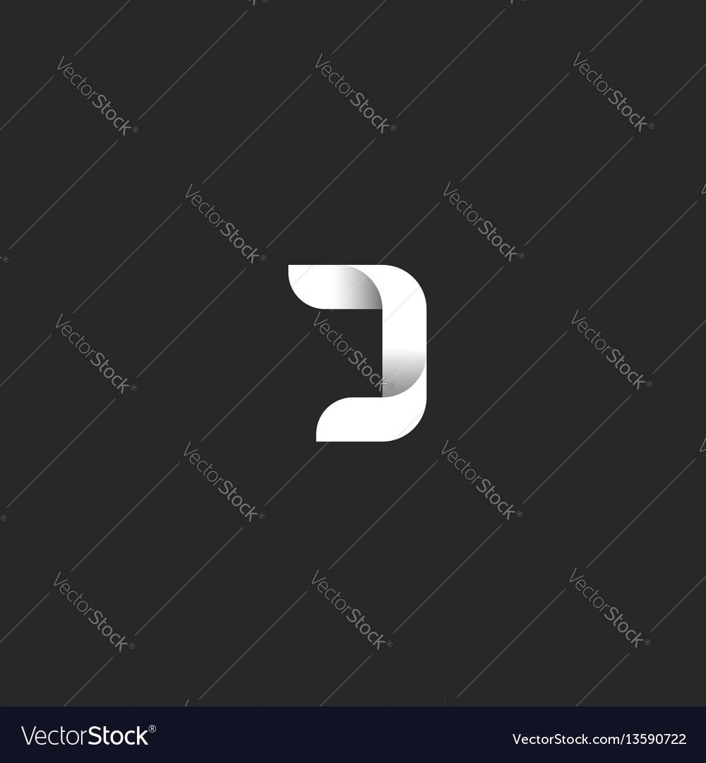 J letter gradient logo monogram black and white vector image