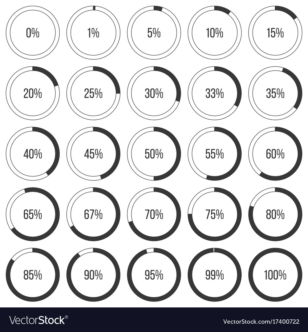 Set of pie charts or donut graph diagram icon vector image
