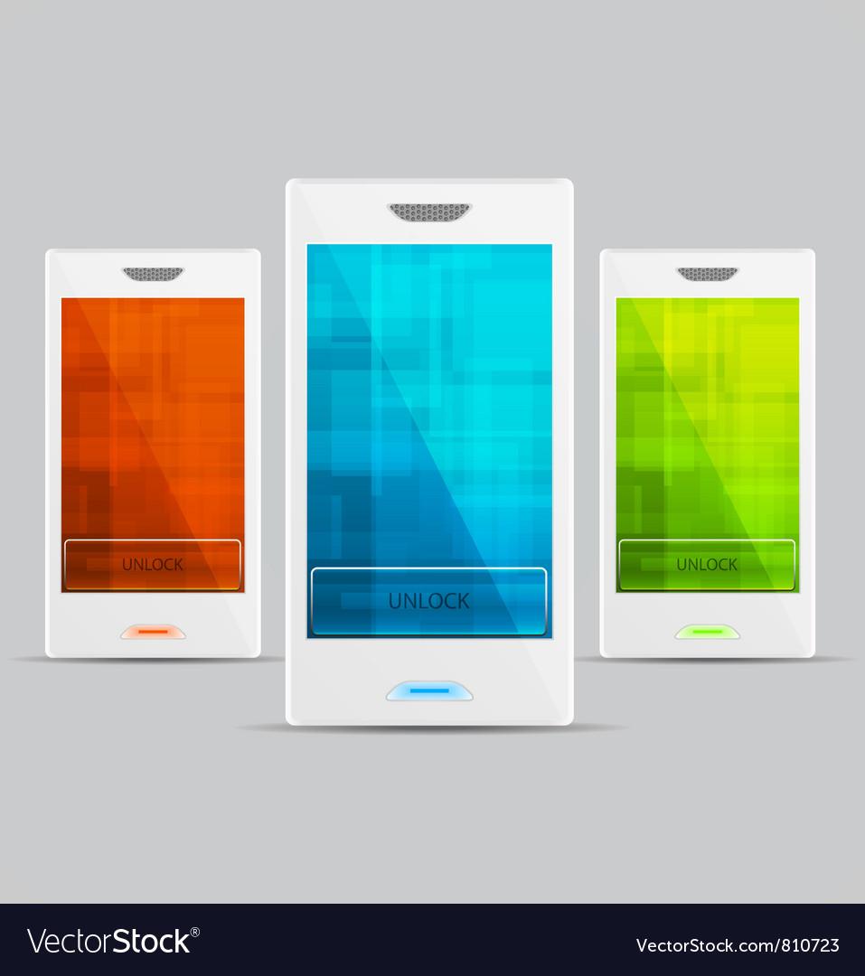 White Cellphones set vector image