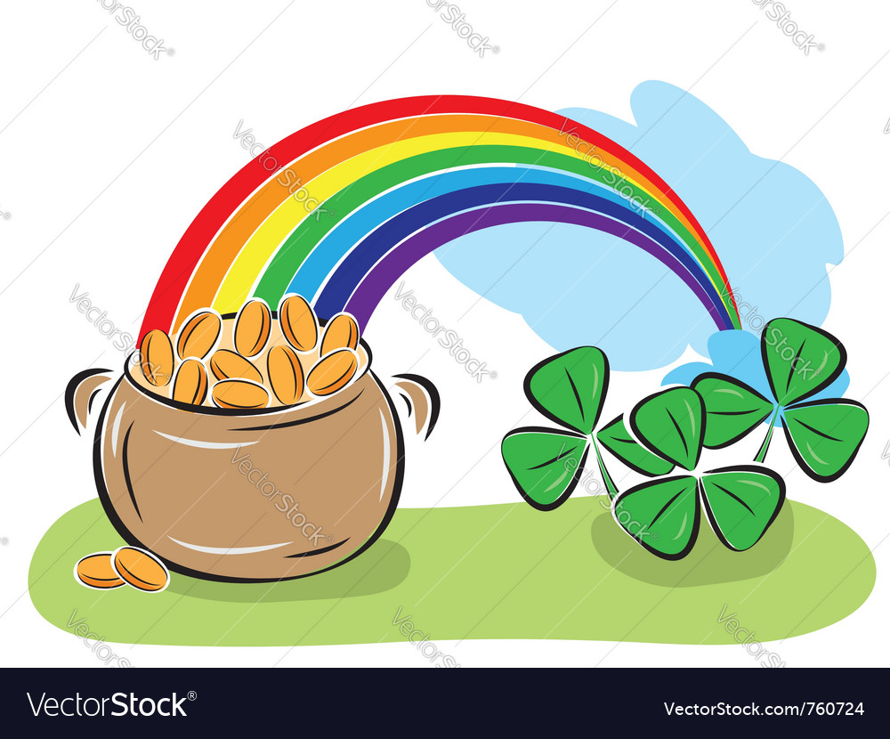 pot with coins rainbow and shamrock royalty free vector