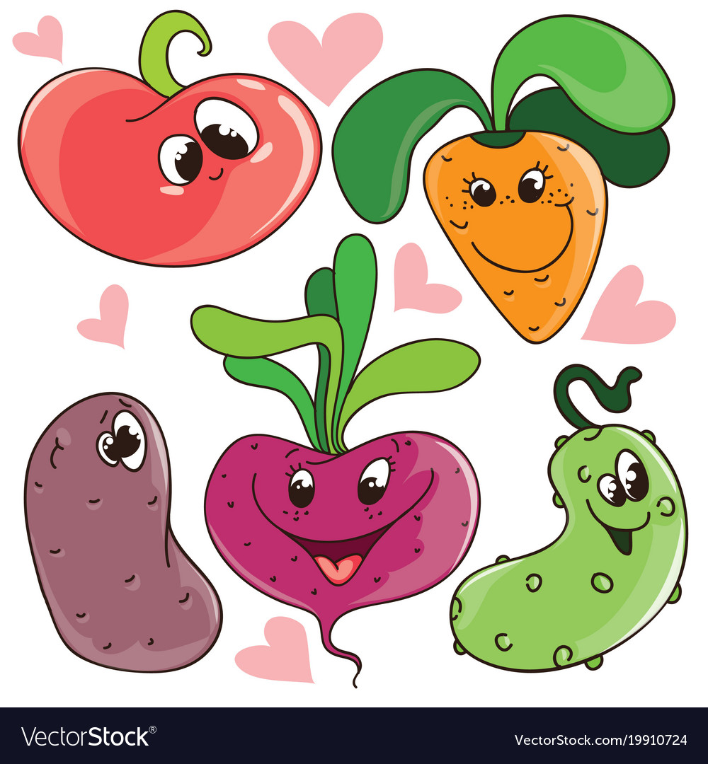 Set of funny cute cartoon vegetables with vector image