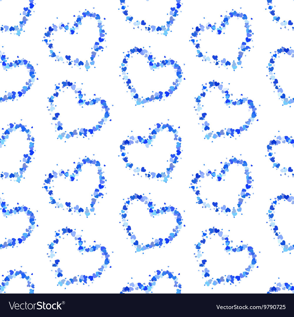 Hearts contours on white seamless pattern vector image