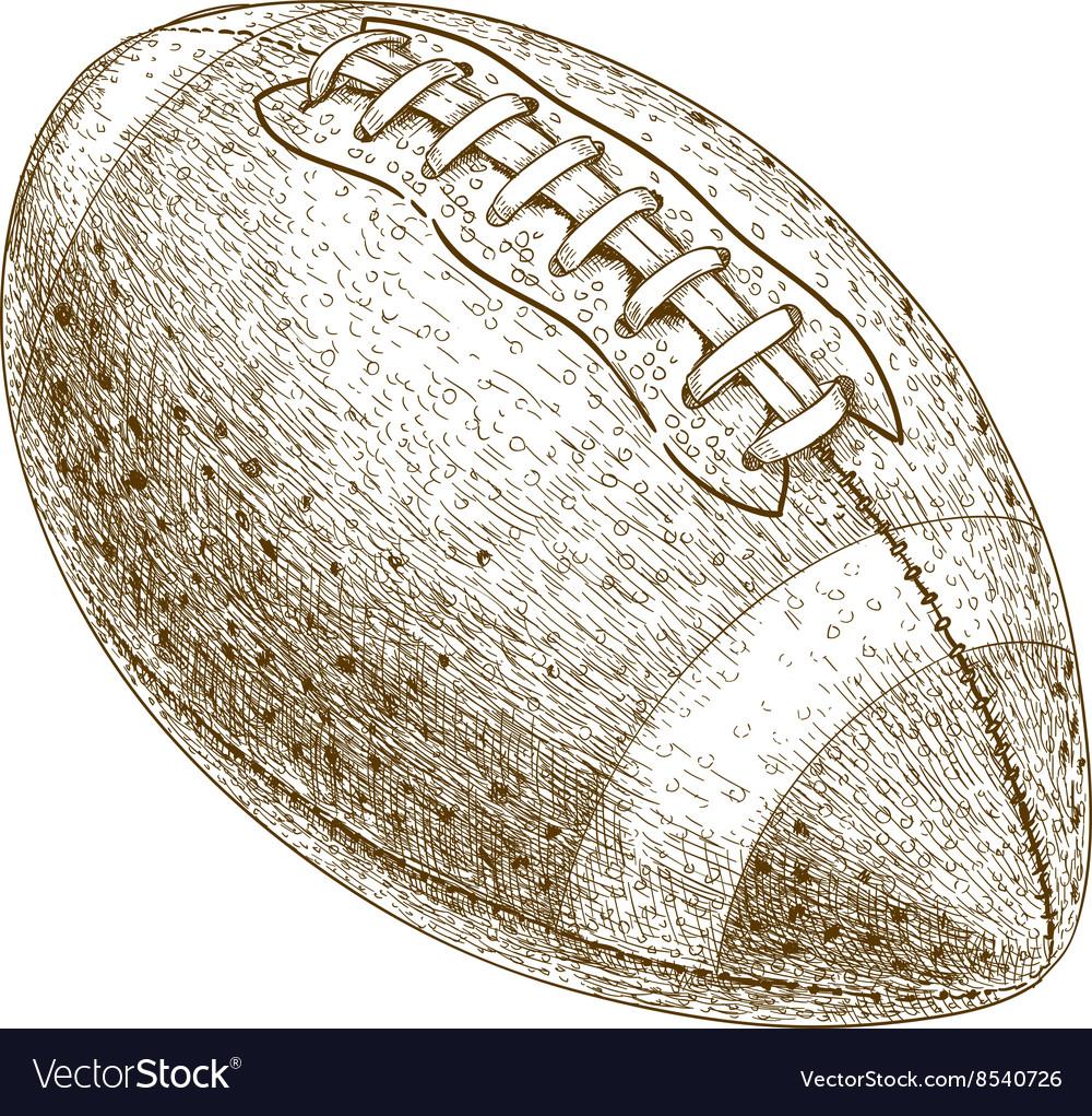 Engraving american football ball vector image