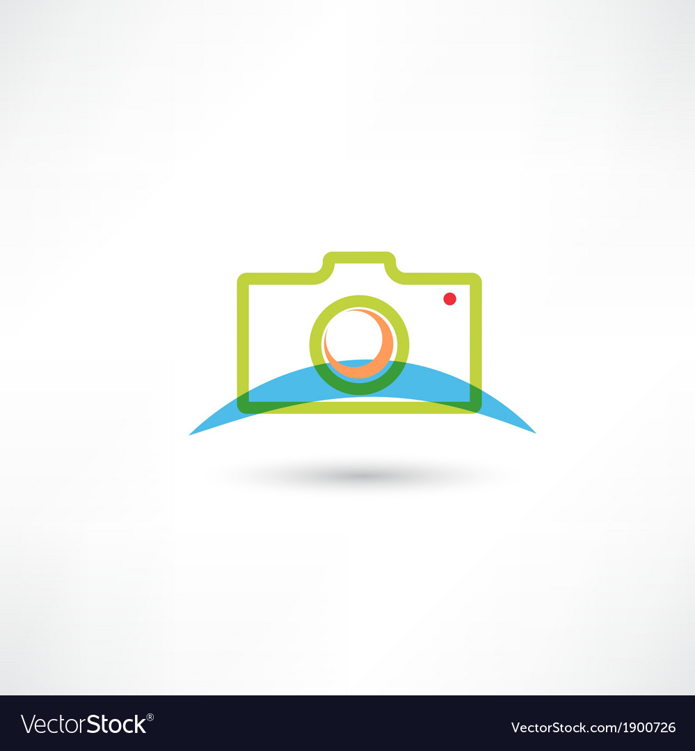 Green camera icon vector image
