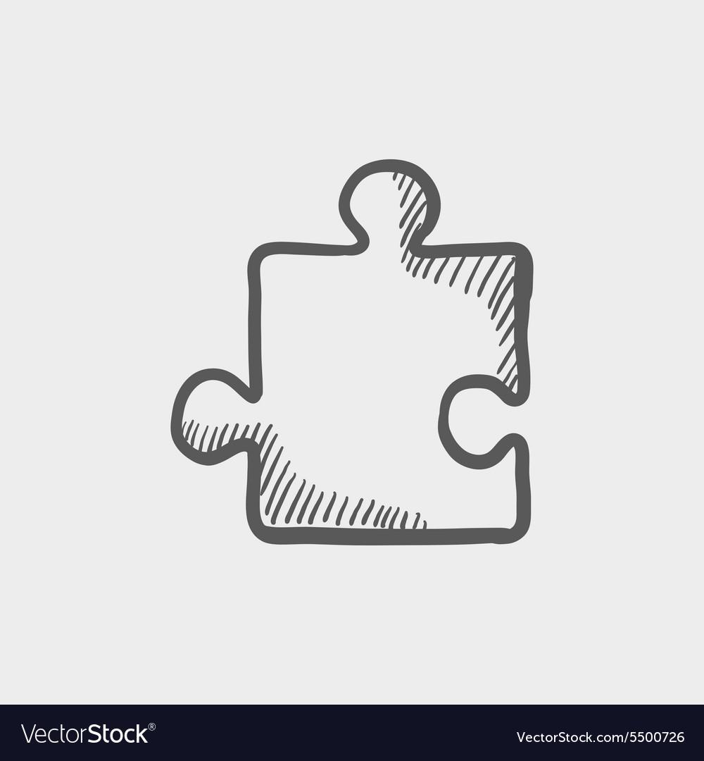 Jigsaw puzzle sketch icon vector image