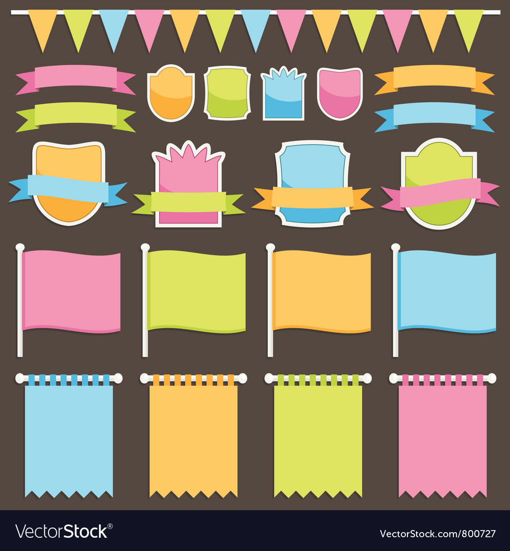 Ribbons plaques and flags vector image