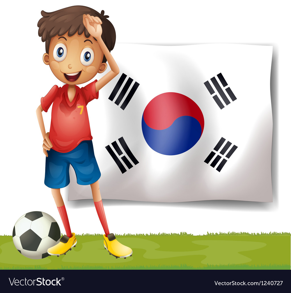 A Korean flag at the back of the soccer player vector image