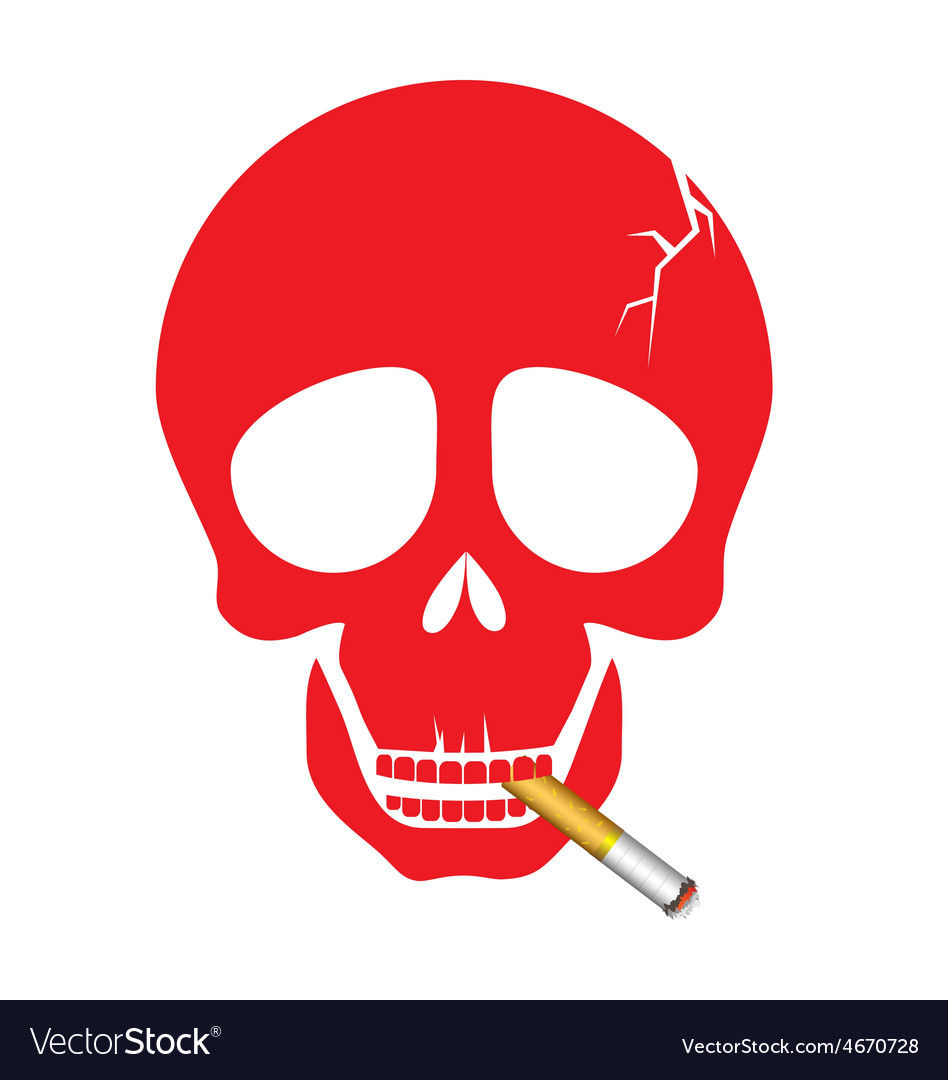 A human skull smoking a cigarette vector image