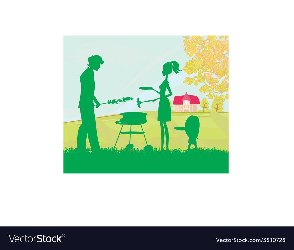 A of a family having a picnic in a park vector image