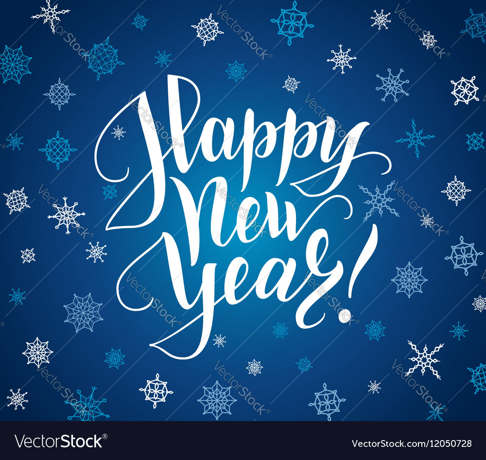 Happy new year card Lettering over background vector image