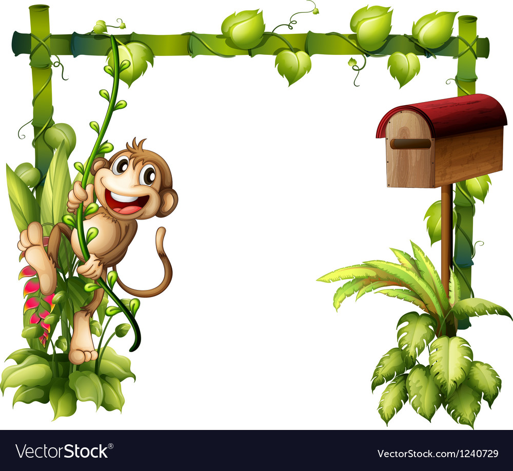 A monkey swinging beside a wooden mailbox Vector Image