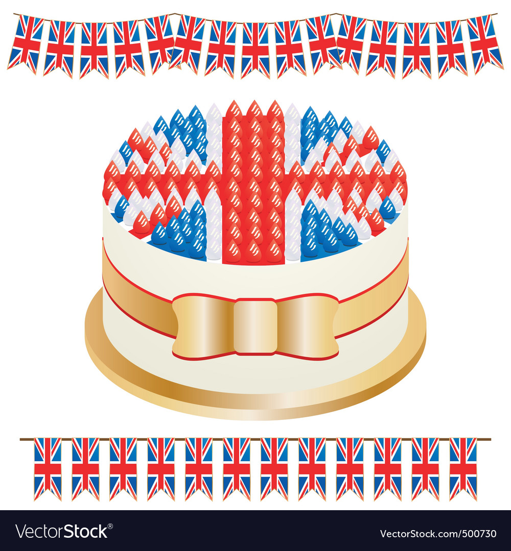 Union jack cake vector image
