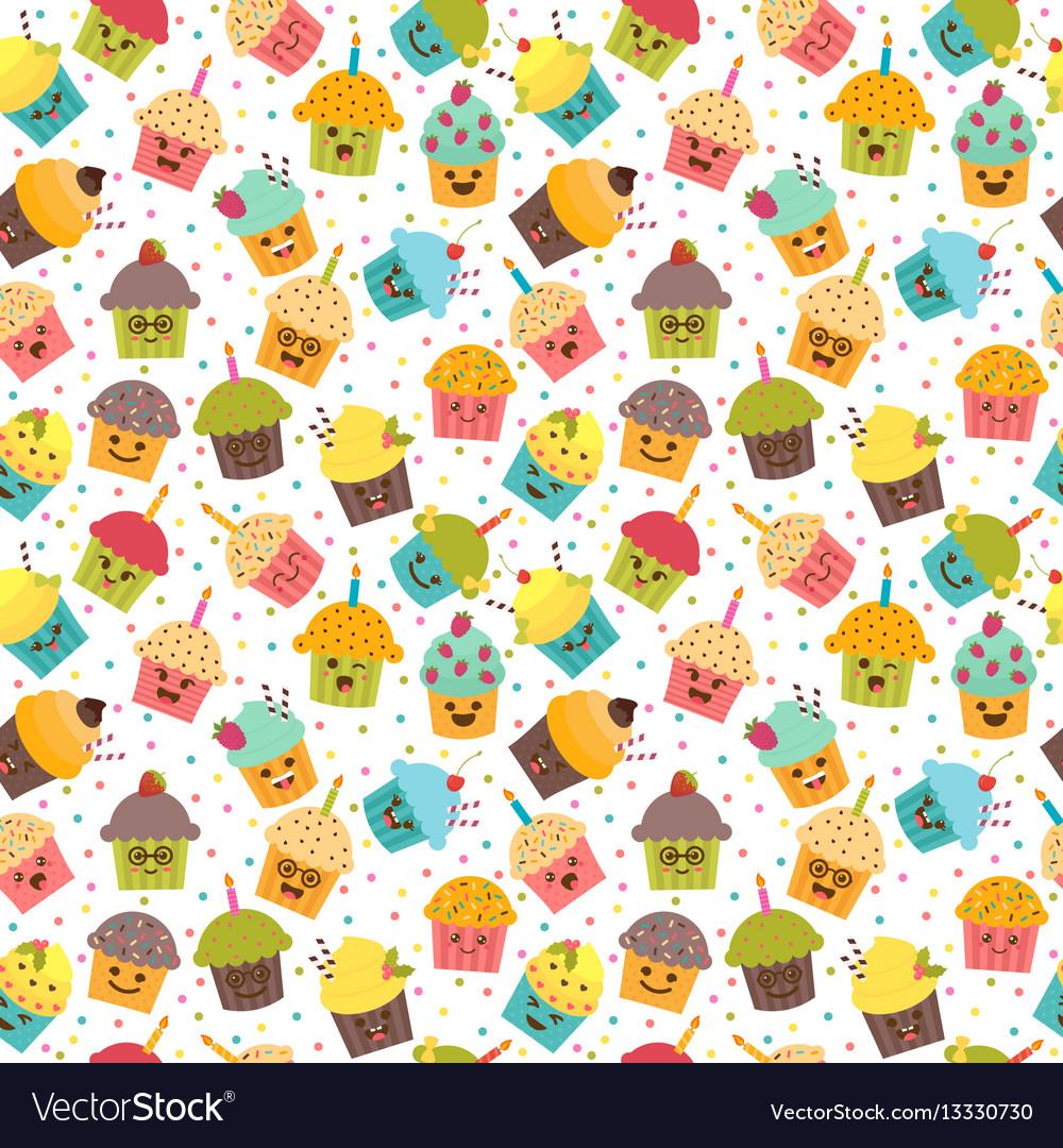 Birthday background kawaii cupcakes seamless vector image