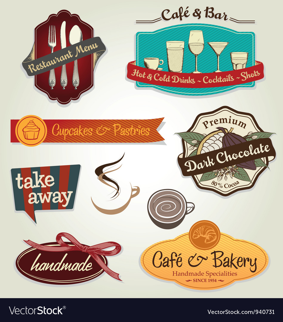 Retro label set vector image