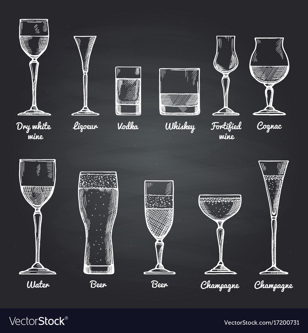 Alcoholic drinking glasses vector image