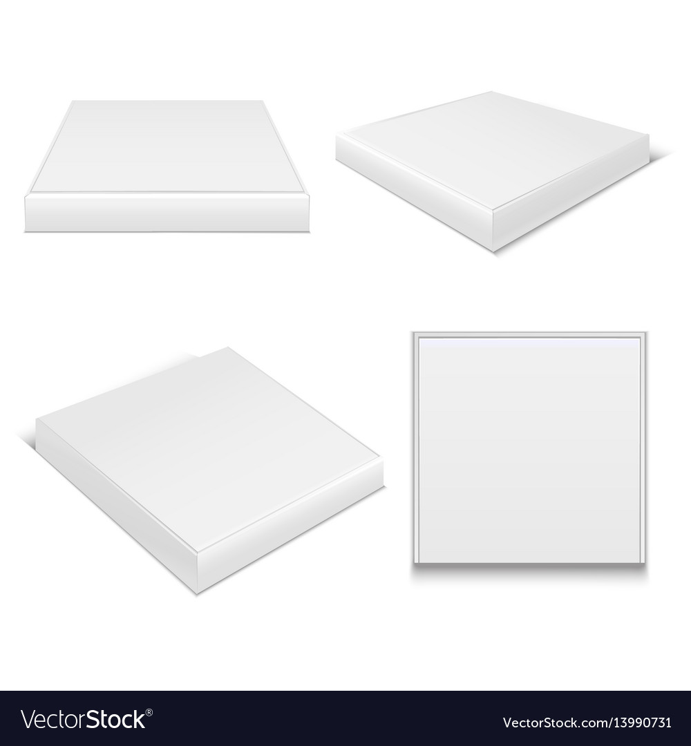 Realistic template blank white package pizza boxes vector image