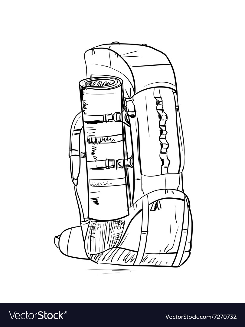 Backpack sketch vector image
