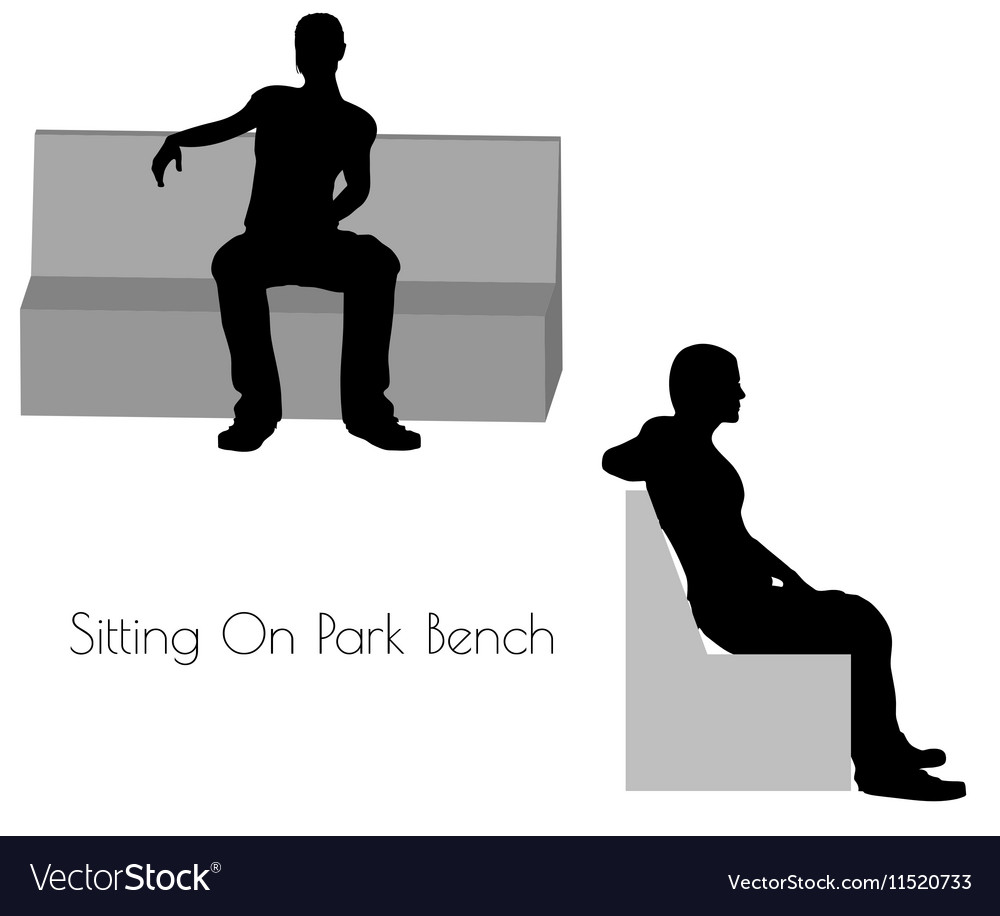 Man in Sitting On Park Bench pose on white vector image