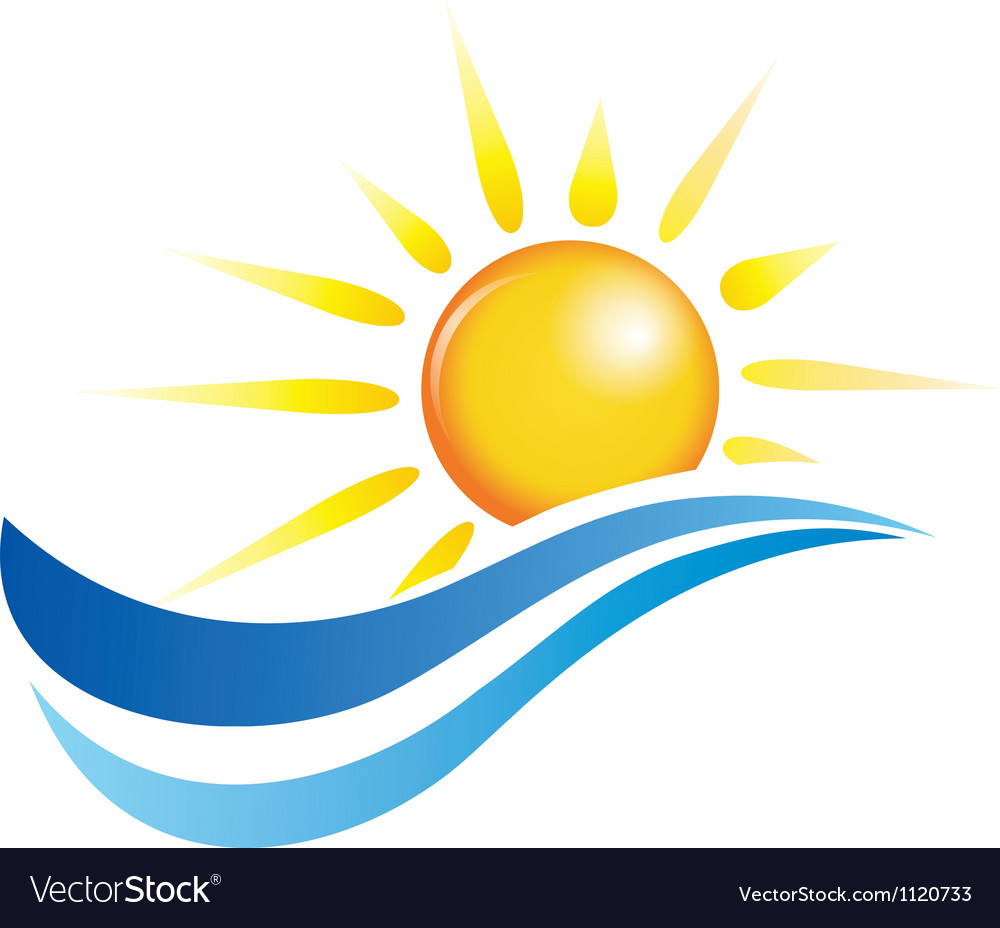 Sun and water waves design elements vector image