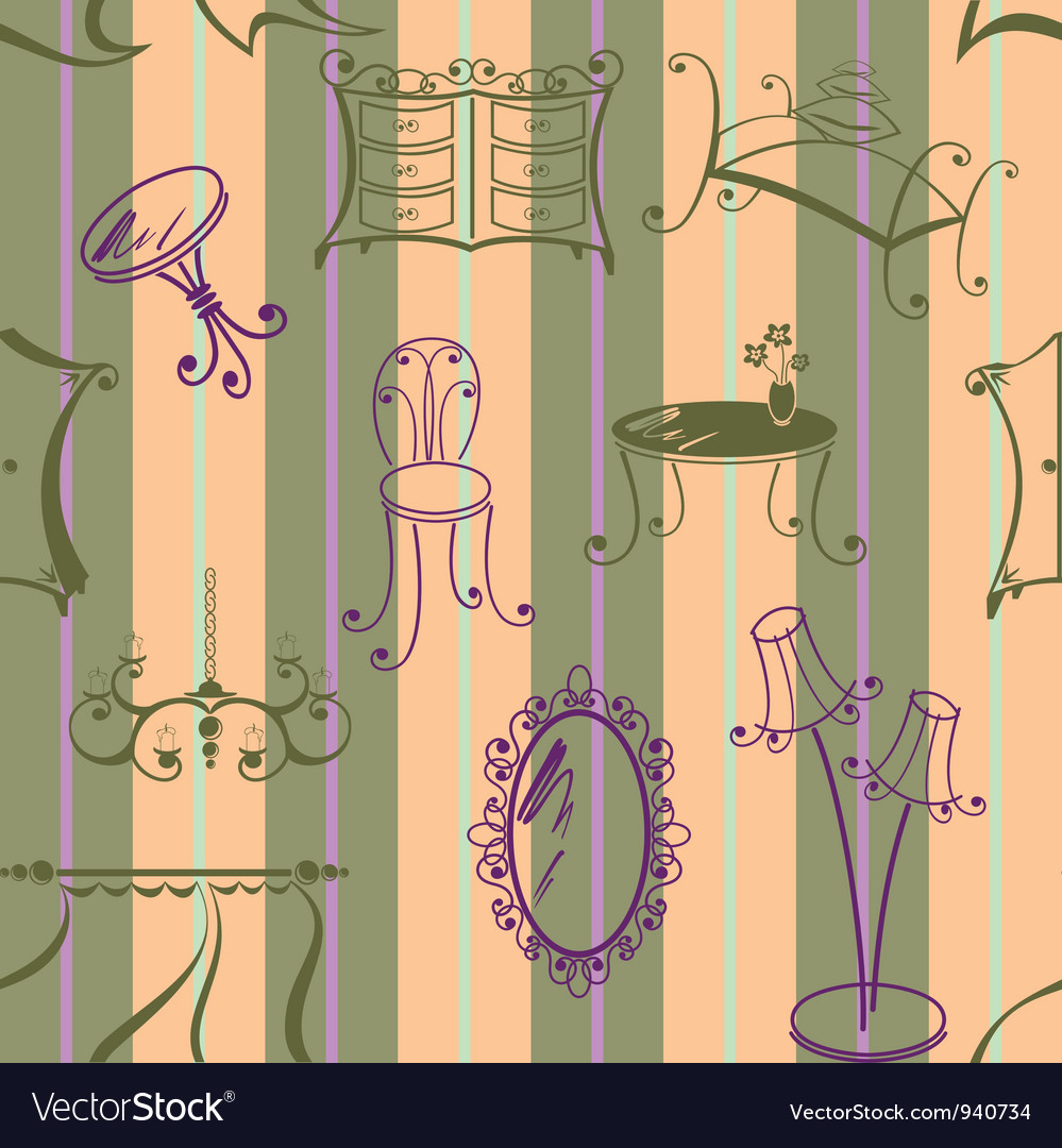 Seamless with elements of furniture vector image