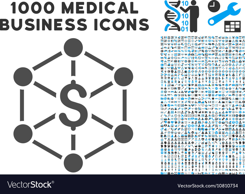 Bank Network Icon with 1000 Medical Business vector image