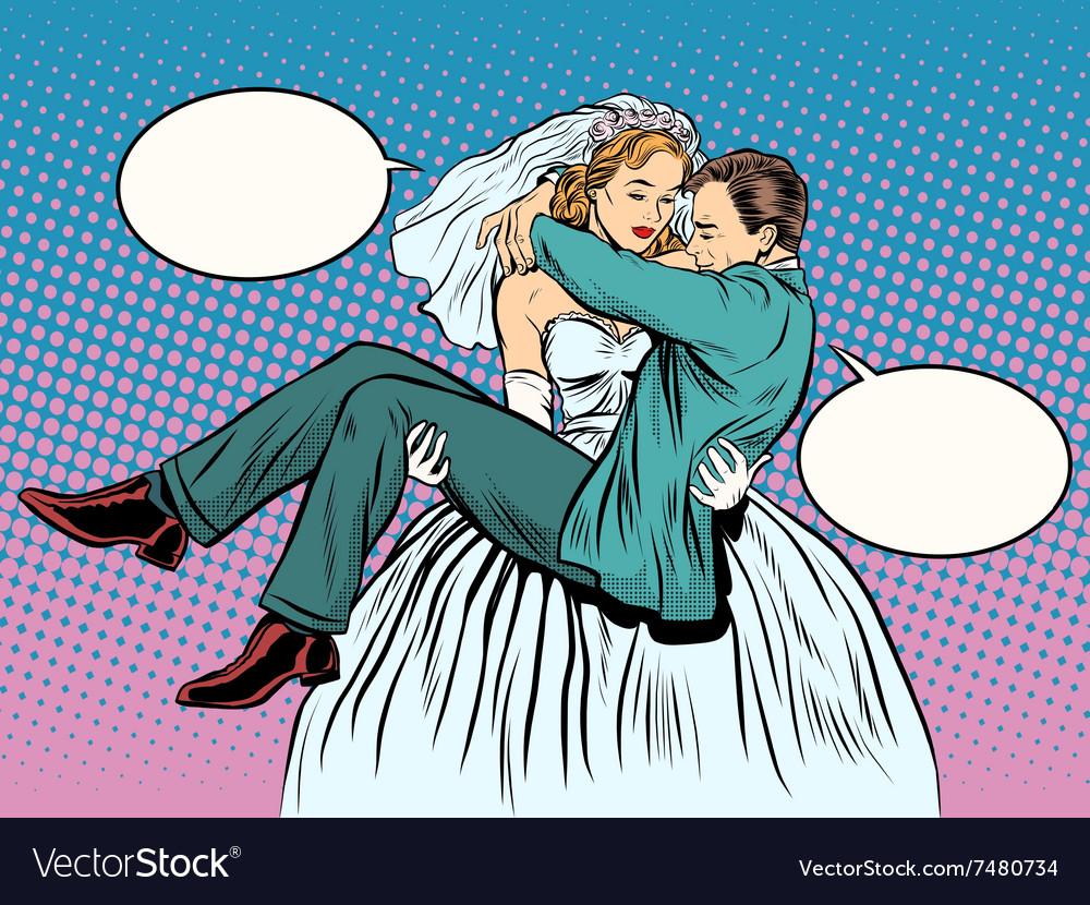 Wedding bride groom carries in her arms vector image