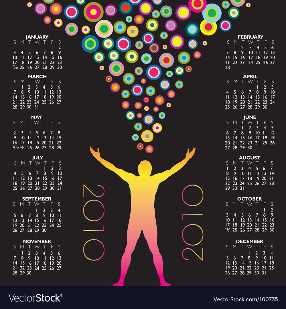 2010 man circles calendar vector image