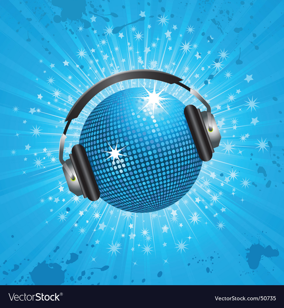 Blue disco ball and headphones vector image