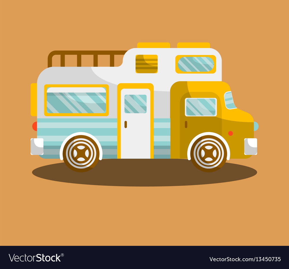 Camping bus or camper van motorhome car or vehicle vector image