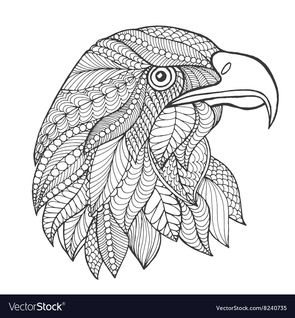 Anti stress coloring images - Eagle Head Adult Antistress Coloring Page Vector Image