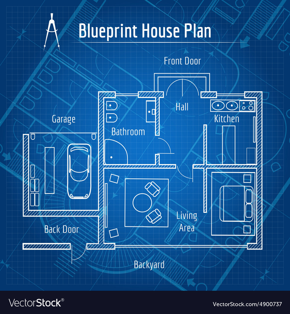 Blueprint house plan royalty free vector image blueprint house plan vector image malvernweather Image collections