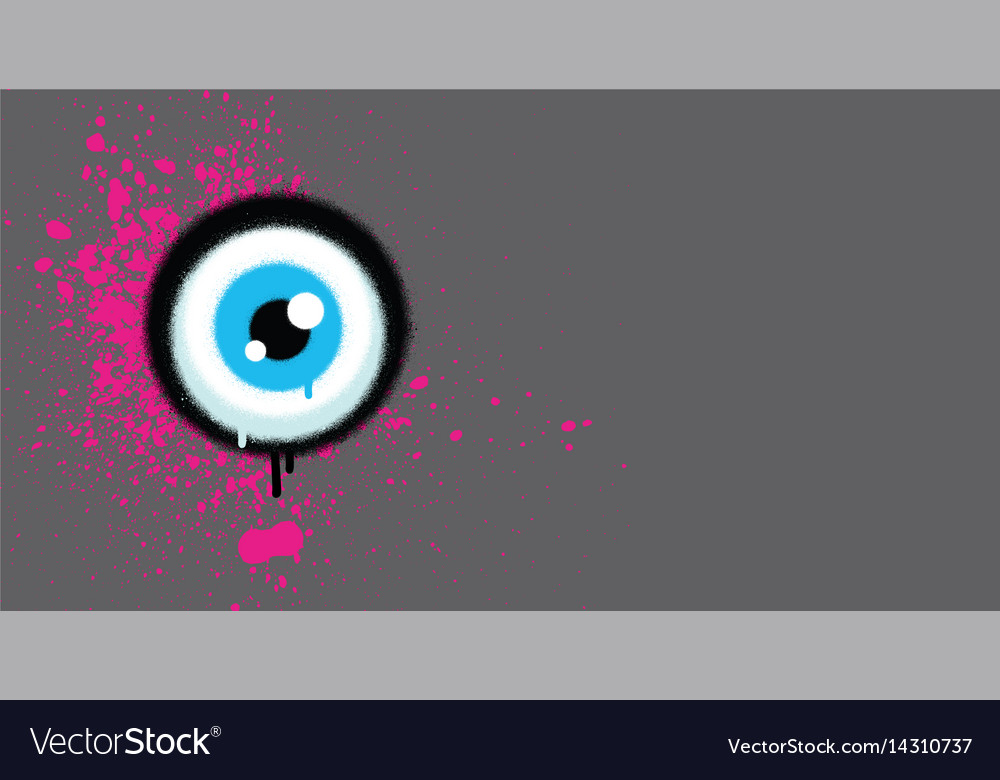 Graffiti eyeball with pink paint grunge on gray vector image