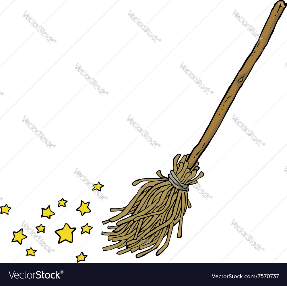 Magic broom vector image