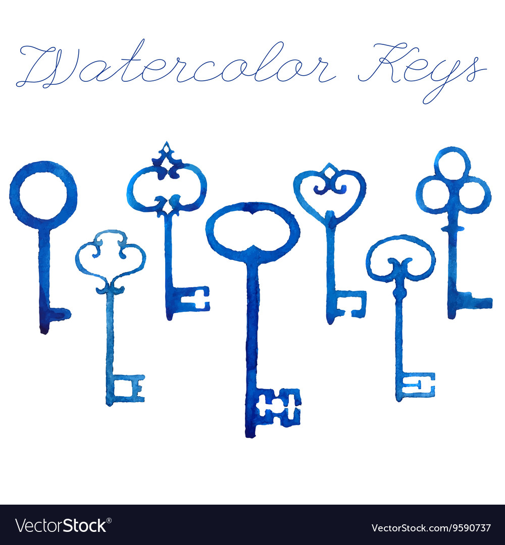 Watercolor vintage keys vector image