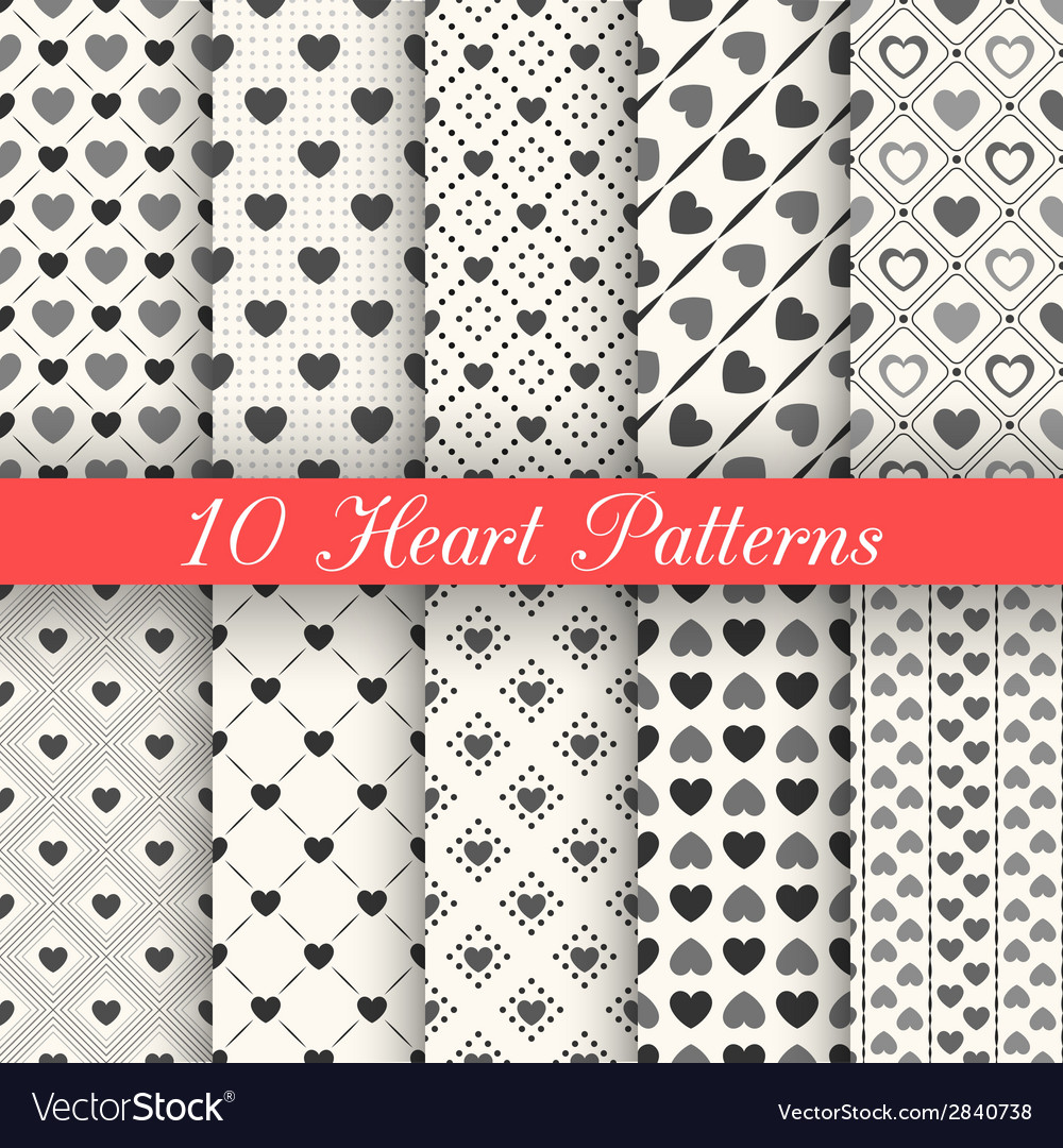 Heart shape seamless patterns Black and white vector image